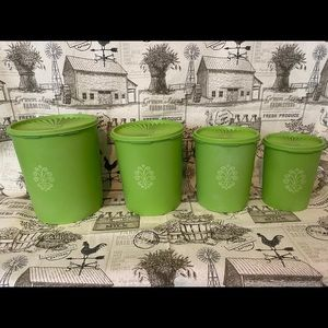 Vintage Tupperware Decorative Canisters Green